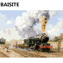 BAISITE Framed Landscape DIY Oil Painting By Numbers Picture Of Train Painting&Calligraphy Home Decor Wall Art E318 40x50cm