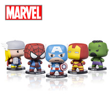 Disney Marvel Cute Cartoon The Avengers Action Figures Toy with Thor Spider Captain America Iron Man Hulk for Decor Collection(China)