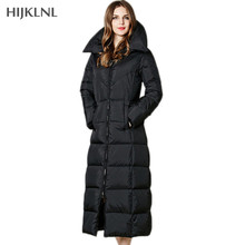 HIJKLNL X-Long Women's Down Jackets 2017 New Winter Down Coat Black Color Hooded Slim Long Duck Down Jacket Parka Mujer LH1158
