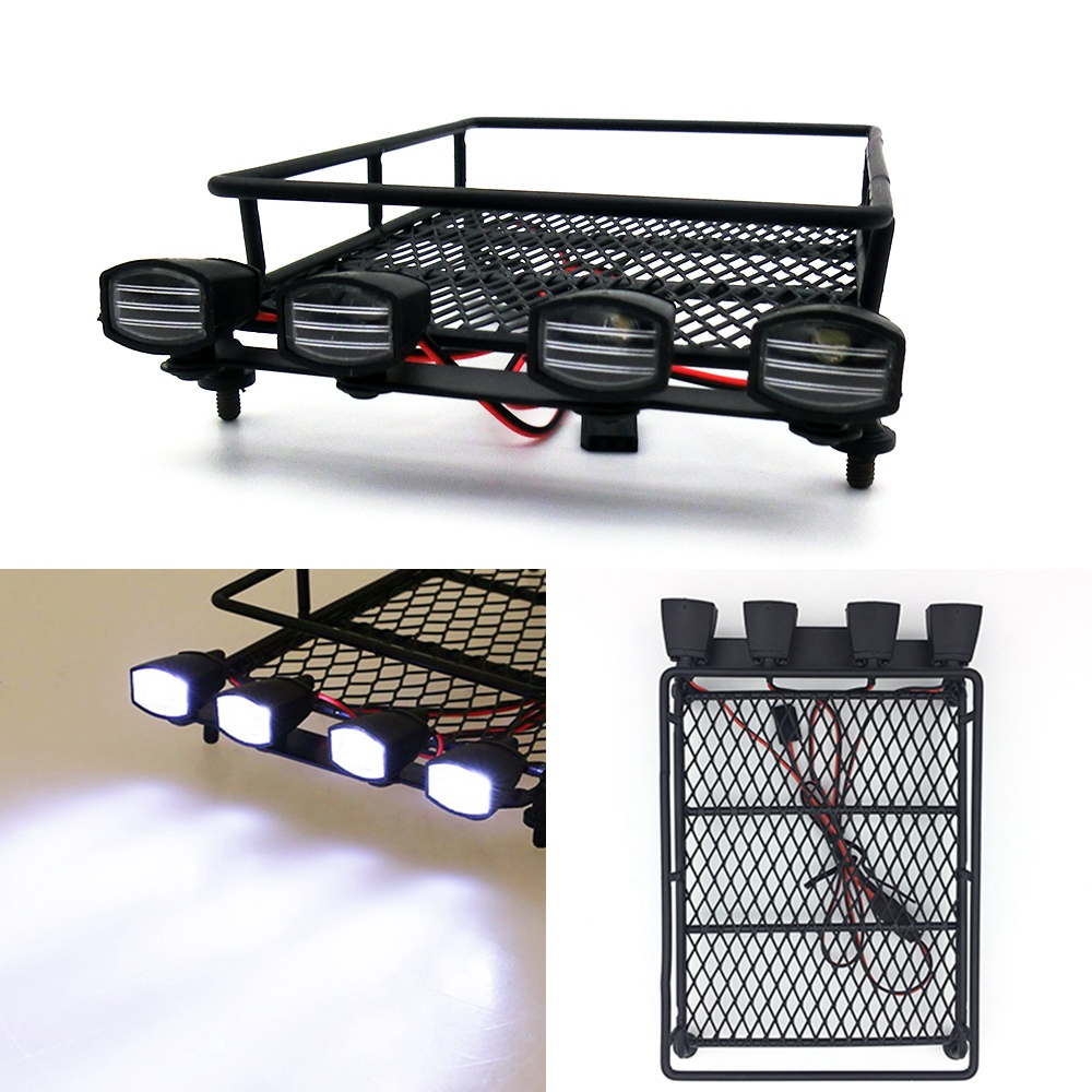 Austar Roof Rack Luggage Carrier &amp; LED Light Bar for 1/8 1/10 RC Car Rock Crawler Rally TAMIYA CC01 AXIAL SCX10 RC4WD D90 D110<br><br>Aliexpress