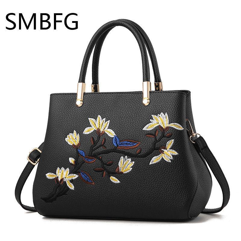 Women Leather Handbag Women Messenger Bag Female Leather Shoulder Bag Womens Embroidery Flower Handbag luxury brand B112 drop<br>