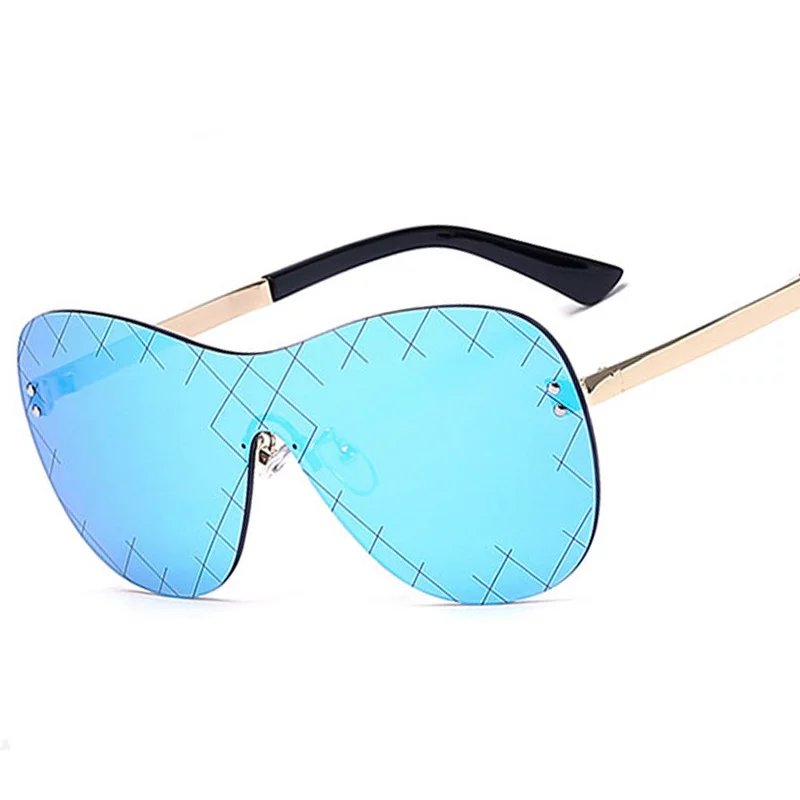 New Women Siamese Grid Pattern Sunglasses Brand Designer Fashion Men Personality Rimless Mirror Coating UV400<br><br>Aliexpress