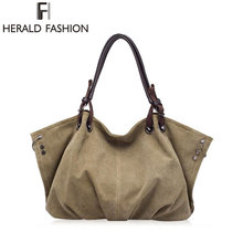 High Quality Canvas Women Handbag Casual Large Capacity Hobos Bag Hot Sell Female Totes Bolsas Trapeze Ruched Solid Shoulder Bag(China)