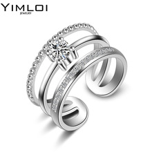 2017 Three Layers Zircon Stainless Steel Titanium Ring for Men Women CZ Crystal Ring Band Jewelry Custom Accessories R086