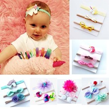 3 Pieces/Set Children's Headband Grosgrain Ribbon Lace Floral Hairbands Sets Handmade Girls' Boutique Head Accessories(China)