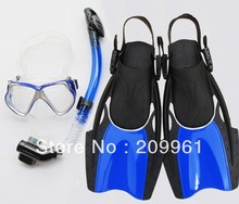 2 color high quality diving mask full dry snorkel Breathing tube web-footed swimming Fins flippers Under Water Swiming