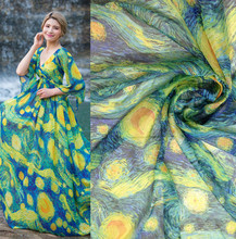 bilateral positioning flower / chiffon fabric Ink style costume clothing apparel fabrics which is feeling is very good2017070543(China)