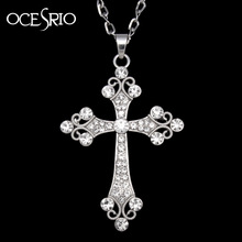 Big Silver Cross Pendant Necklace crystal rhinestones silver long chain necklace for womens hip hop fashion jewelry nke-h77