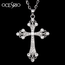 Big Silver Cross Pendant Necklace crystal rhinestones silver long chain necklace for womens hip hop fashion jewelry nke-h77(China)