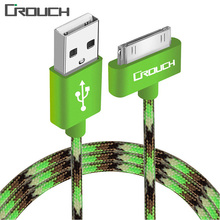 Crouch USB Cable for iPhone 4 4s iPad 2 3 iPad iPod 30 Pin Metal Plug Charger Cable for iPhone 4 Nylon Wire Charging Data Cable