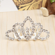 Fashion Princess Small Crystal Crown Girls Hair Accessories Girls Party Headwear Hair Combs(China)