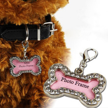 200pcs Pet Collar Charm Dog ID Name Tag Rhinestone Accessories Bone Shaped Doggie Boutique Puppy Crystal Photo Frame ZA1296