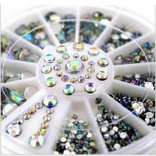 Hot Sale 5 Sizes White Multicolor Acrylic Nail Art Decoration Glitter Rhinestones 3D Nail Art Decoration+Wheel