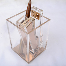 Crystal Pen Pencil Holder Acrylic Stationery Desk Organization Caddy Modern Office Accessories Clear with Rose Gold Bottom(China)