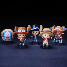 One Piece Cartoon action figure Tony tony Chopper cosplay Luffy Ace Sabo 5pcs/set anime Nendoroid 6.5cm decoration Y7245(China)