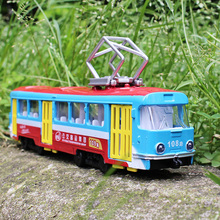 1:32 tram bus Children's toys ornaments Alloy car model Sound and light pull back The door can be opened Children like the gift