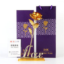 24k Gold Plated Rose acrylic love holder Gold Wedding Decoration Flower Valentine's Day Gold Dipped Rose artificial flower(China)