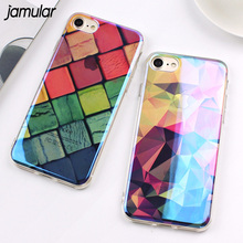 Buy JAMULAR Geometric Grid Transparent Phone Case iPhone 8 7 Plus Case Clear Hard Bling Back Cover iPhone 6 6s Plus Cases for $2.77 in AliExpress store