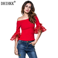 DHIHKK 2018 New Summer T Shirt Women Sexy Off shoulder Flare Sleeve t-shirt Ladies Tops Black Red Casual TEE Plus size 80(China)