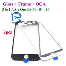 2 개 냉 press 3 in 1 앞 스크린 (gorilla Glass) 와 Frame OCA 대 한 iPhone 5 5 초 5c 6 6 초 7 8 plus AAA Quality black white Repair 부(China)