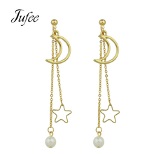 Jufee 2017 Gold-Color Silver Color Long Chain Hanging Earrings Moon Star Shape Simulated-pearl Drop Earrings for Women Jewelry(China)