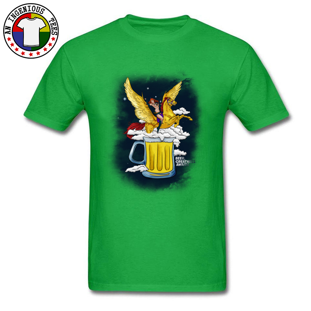 Beer Greatness Awaits Casual Tops Shirts Short Sleeve for Men Pure Cotton Summer Crew Neck T Shirts Custom Tees Fashionable Beer Greatness Awaits green