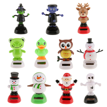 Cute Solar Powered Bobbling Dancing Figure Toy Car Home Desk Decoration Snowman Classic Toys for Children Adult Birthday Gift