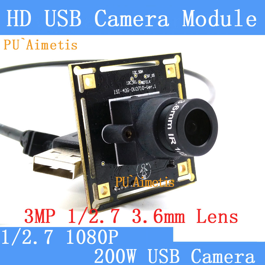 PU`Aimetis  Mini  Surveillance camera 3MP 1/2.7 3.6mm lens 1080P Full Hd MJPEG 30fps High Speed Linux UVC USB Camera Module<br>