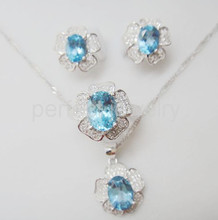 Topaz set Natural real blue topaz 925 sterling silver 1pc ring,1pc pendant,1pair stud earirng 1.6ct*4pcs gems #16031006