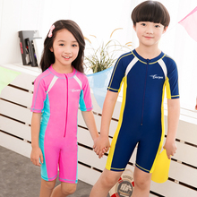 UV Sun Protective Swimwear Girls/Boys Rash Guards Kids Surfing Short Sleeves One Pieces Bathing Suits 2016 DAE