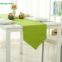 Fashion Home Double-deck cotton table runner Green wave point Style Table flag and Placemat(China)