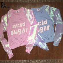 acid sugar Girl Kawaii Harajuku Organza Laser Rainbow Long Sleeve Korea Hoody Crop Tshirt Jumper Lolita Cropped Tops Blusa Tee(China)