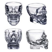 1pcs New Arrival Creative Lucid Skull Head Cool Wine Beer Juice Water Glass Cup Crystal Skeleton Glass 75ML Cristal glass cup