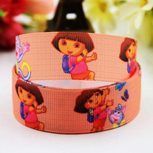 7/8'' (22mm) Dora Cartoon Character printed Grosgrain Ribbon party decoration ribbons OEM X-00812 10 Yards