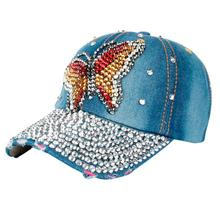 FEITONG wholsale brand cap baseball cap fitted hat Casual cap gorras Butterfly Denim Rhinestone snapback hats for unisex#LREW(China)