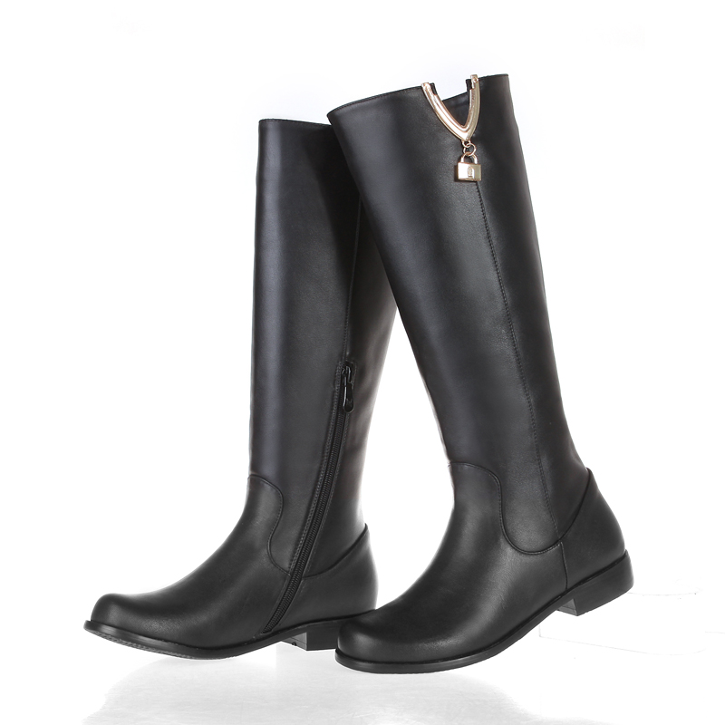 Women Black Knee High Boots Genuine Leather Long Boots 2016 Autumn Winter Ladies Fashion Warm Chunky Heel Work Boots Snow Shoes <br><br>Aliexpress