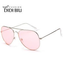DIDI Aviator Clear Pink Sunglasses Women Men Ocean Transparent Sun Glasses Candy Color Eyewear Pilot Yellow Lens Glasses W738(China)