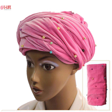 U-Life 2017 African turban Headties Beaded quality Stretchy Velvet Turban African Head Wrap Scarf with colorful beads turban-1