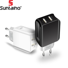 Suntaiho Dual USB Port Charger Travel Wall Adapter Smart Mobile Phone Charger for Iphone/Xiaomi/LG/Huawei EU Plug(China)