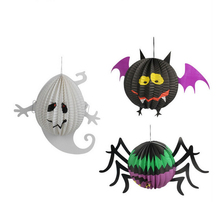 HOT Halloween Pumpkin Spider Ghost Bats Paper Lantern Lamp Decor Funny Spooky Door Hanger Lantern Toy Party Decoration Props(China)