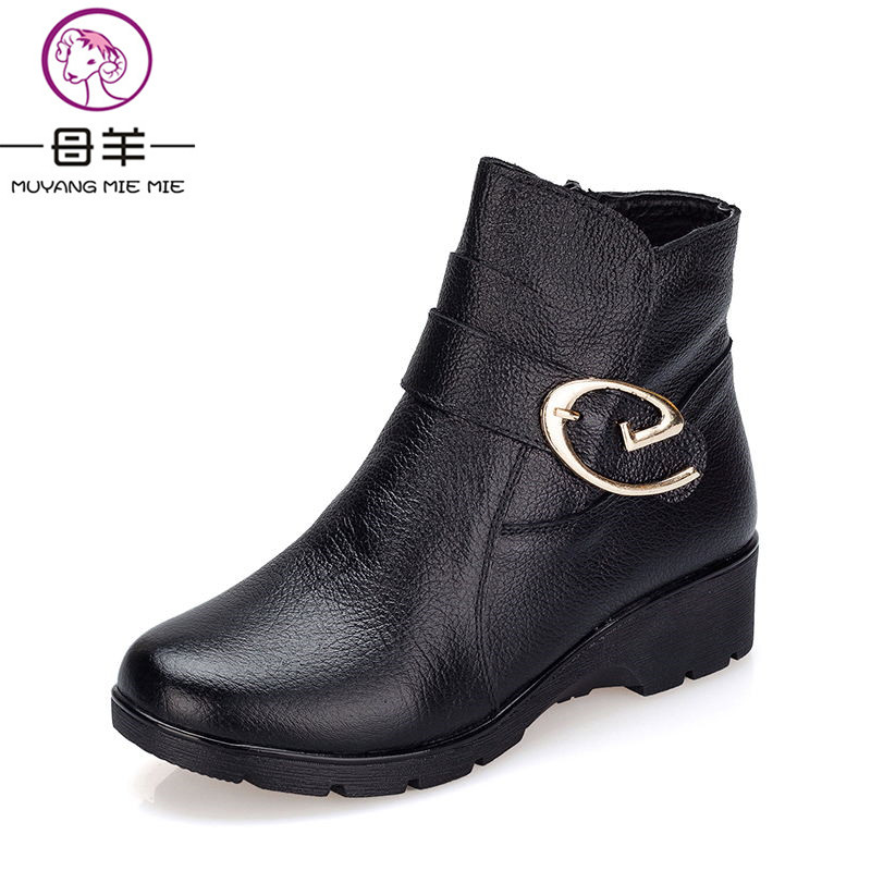 MUYANG MIE MIE 2017 Fashion Winter Women shoes Genuine Leather Wedges Ankle Boots Cotton Warm Shoes Woman Snow Boots Women Boots<br>