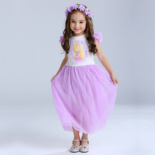 Sun Moon Kids Baby Girl Clothing Girl Casual Ball Gown Cartoon Costume For Kids Sleeveless Children's Costumes For Girls