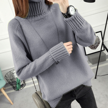 Loose Cashmere Turtleneck Sweater Long Pullover Femme Fall 2017 Fashion Korean All Match Bottoming Thick Christmas Sweaters(China)
