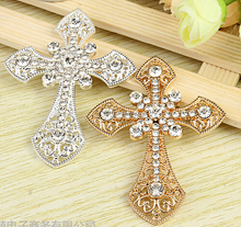New Arrival 10PCS/Lot Silver/Gold Tone Plated Crystal Rhinestone Cross Shape Alloy Buttons DIY Jewelry Accessories Phone Sticker