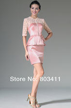 Freeshipping New Pink Lace Top & Sleeves Knee Length Formal Dress Mother of the Bride Dress Suits