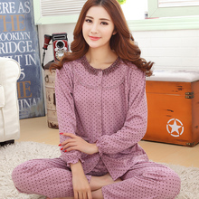 Spring and autumn women long sleeve pajamas fashion cardigan tracksuit suit high-quality cotton large size adult pijamas mujer