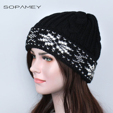 Woman 's Beanie Winter Hats Plus cashmere Thicker Cap Women Stocking Hat Beanies stripe Knitted Hiphop Hat Female Warm Wool Cap