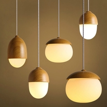 American Country Pendant Light Creative Wood Pendant Lamp Glass Ball Hanging Lamp Nordic Designer Light Art Deco Lighting Abajur(China)