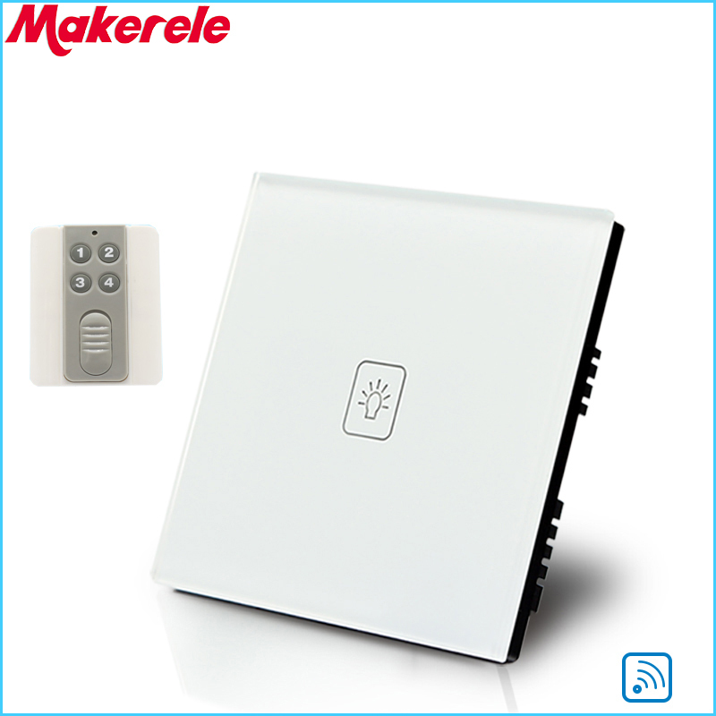 Remote Touch Switch UK Standard 1 Gang 1way RF Remote Control Light Switch UK Standard Crystal Glass Panel with Remote contro<br>