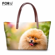 FORUDESIGNS Cute Animal Pomeranians Pattern Fashion Women Large Tote Bags Luxury Women's Casual Messenger Bags Handbags Mujer(China)